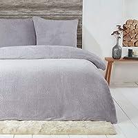 Sleepdown Teddy Parure de lit en Polaire Chaude et Douillette Super Douce 155 x 220 cm + 2 taies d'oreiller 80 x 80 cm…