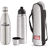 Milton Thermosteel Flip Lid Flask, 500 milliliters, Silver & Thermosteel Duo Deluxe-1000 Bottle Style Vacuum Flask, 1 Litre, Silver Combo
