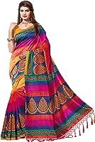 e vastram Women's Mysore Art Silk Saree With Blouse Piece (NSTASSELMULTI_Yellow & Green)