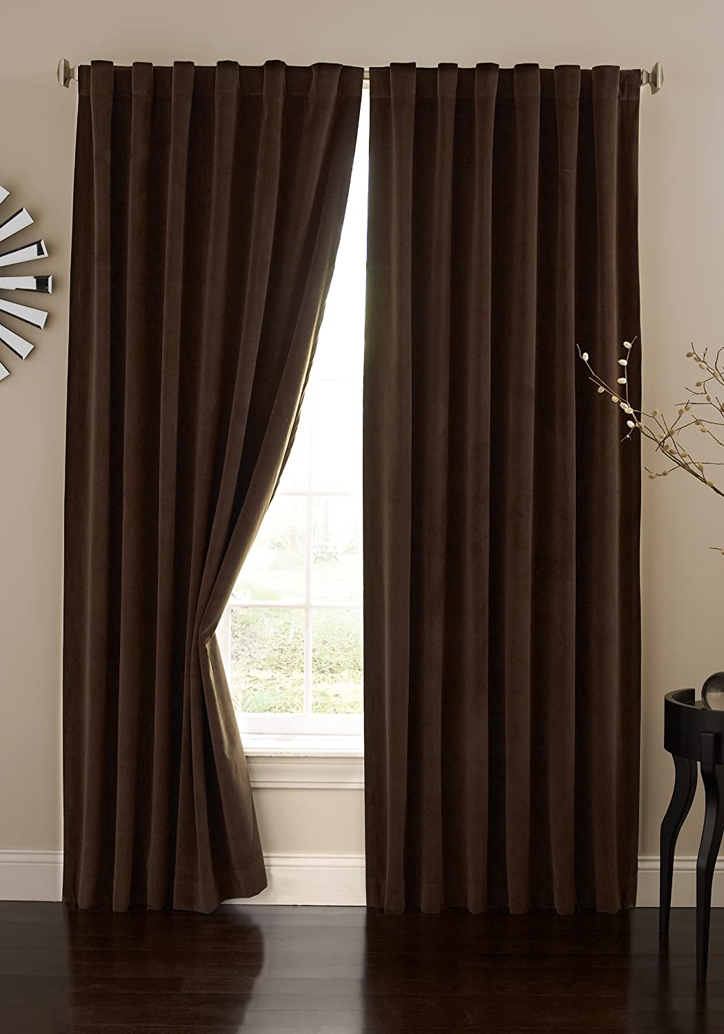 Couldn t find a picture of the curtains anywhere online this is - Absolute Zero Velvet Blackout Home Theater Curtain Panel 84 Inch Stone Blue Amazon Co Uk Kitchen Home