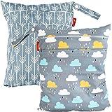 HOMYBABY Bolsa Impermeable de tela [2pcs]| Organizador de pañales o ropa para guardería y colegio | Neceser viaje, playa, pis