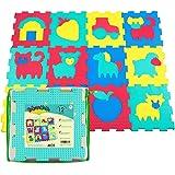 Tapis de jeu en mousse pour bébés et enfants | 12 dalles en mousse EVA sur la ferme dans un sac de rangement | Tapis puzzle 20% plus épais et plus doux | Sûr à 100%, non toxique
