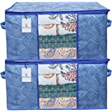 Kuber Industries Leheriya Design Underbed Storage Bag, Storage Organiser, Blanket Cover Set of 2 - Royal Blue, Extra…