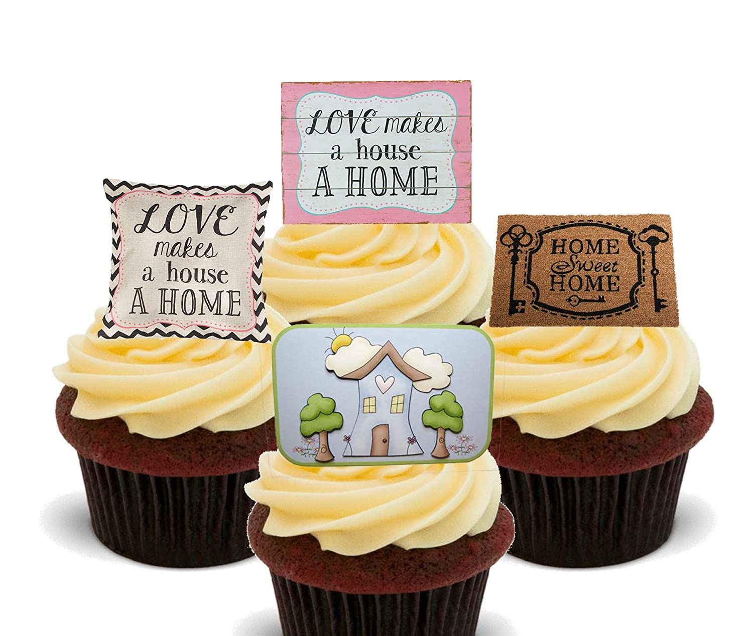 New House Edible Cupcake Toppers Standup Wafer Cake Decorations