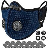 AstroAI Maschera Antipolvere Con Filtri - Protezione Personale Riutilizzabile Regolabile Per Corsa, Ciclismo,blu