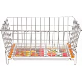 Embassy Dish Draining Basket/Kuda with Drip Tray, Rectangle, 60x47x25 cms (LxBxH), (Pack of 1, Stainless Steel)