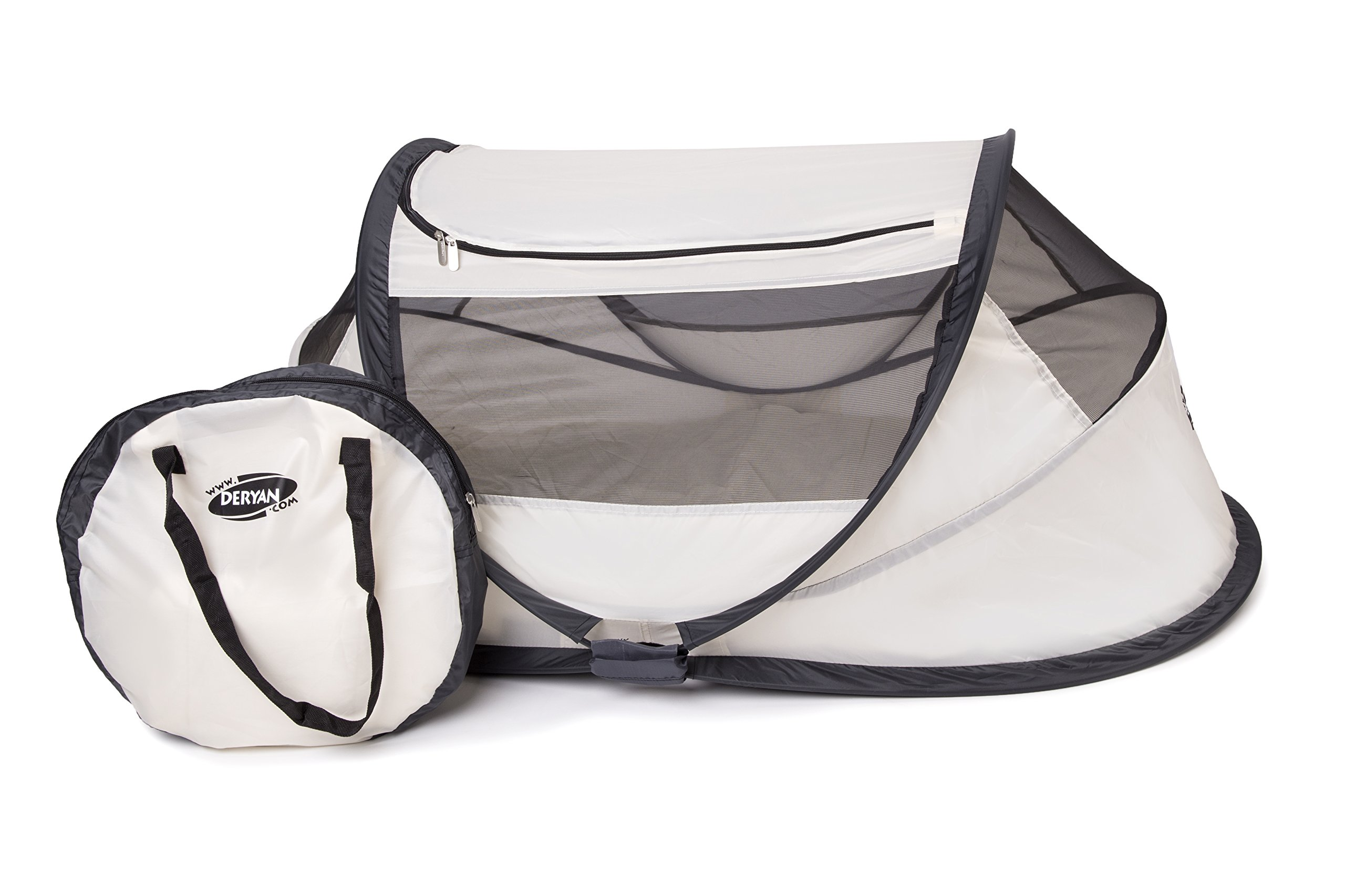 Travel Cot Babybox (Khaki) Deryan 50% UV Protection and flame retardant fabric Setup in 2 seconds and a anti-musquito net  4