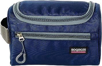 SOQEGIS Multi Functional Hanging Travel Cosmetic Toiletry Bag Bathroom Storage Waterproof Travel Hanging Organizer Bag for Men and Women (H 15 cm x W 13.05 cm x L 25 cm) (Navy Blue)