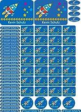 INDIGOS UG Namensaufkleber/Sticker - A4-Bogen - 108 - Rakete - 69 Sticker für Kinder, Schule und Kindergarten - Stifte, Federmappe, Lineale - auch für Erwachsene - individueller Aufdruck