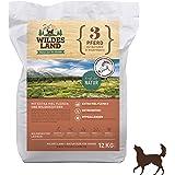 Wildes Land   Trockenfutter für alle Hunde   mit Kartoffeln oder Reis und Wildkräutern   Getreidefrei oder Glutenfrei   Viel Fleisch   Beste Verträglichkeit   Rohstoffe aus Lebensmittelproduktion