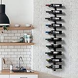 Yaheetech Wandrek, wijnrek, flessenrek van metaal, voor 10 wijnflessen om op te hangen, perfecte decoratie in zwart