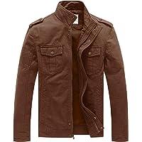WenVen Giacca Militare Classica in Cotone Giubbotto con Zip Antivento Cappotto Leggero Autunnale Giaccone Casual Tempo…