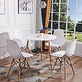 H.J WeDoo Ensemble de Table et 4 chaises pour Salle à Manger, Ronde Table en Bois Diamètre 80 cm, Chaises 53 * 46 * 82 cm, Bl