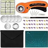 MOOING Kit Cutter Rotatif 45 mm Tissu Cutter avec Mécanisme de Protection, 5 Lames de Rechange+A4 Tapis de Découpe+Patchwork
