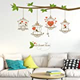 Amazon Brand - Solimo Wall Sticker for Living Room (Love Birds Hanging Tree ), Ideal Size on Wall: 140 x 120 cm