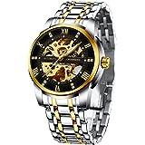 Relojes, Relojes Hombre Mecánico Automático de Lujo de Estilo Clásico Impermeable Números Esfera con Correa de Acero Inoxidab