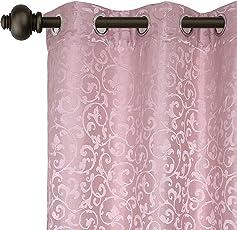 Urban Hues Eyelet Pink Polyester Jacquard Fabric Window/Door Curtains (7 Ft)