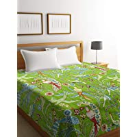 Rajasthan Décor Cotton Hand Made Kantha Work King Floral Pattern Bed Cover/Bed Spread without Pillow Cover (Green, 225x270 cm)