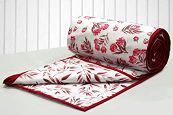 AURAVE Embara Cotton 1 Piece Floral & Leaves Reversible Dohar