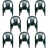 CrazyGadget Plastic Garden Low Back Chair Stackable Patio Outdoor Party Seat Chairs Picnic Green Pack of 8