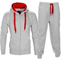 Love My Fashions® Mens Tracksuit Set Kids Contrast Cord Fleece Hoodie Top Bottoms Jogging Zip Joggers Gym Causal…