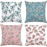 Bonhause 4er Set Kissenbezüge 45 x 45 cm Blaugrün und Rosa Blätter Samt Soft Dekorative Kissenhülle Zierkissenbezüge für…