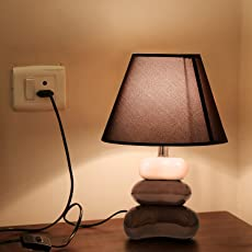 Kurtzy® Contemporary Ivory Crackle Pebble Table Desk Lamps Lights for Home Decor Bedside/Living Room
