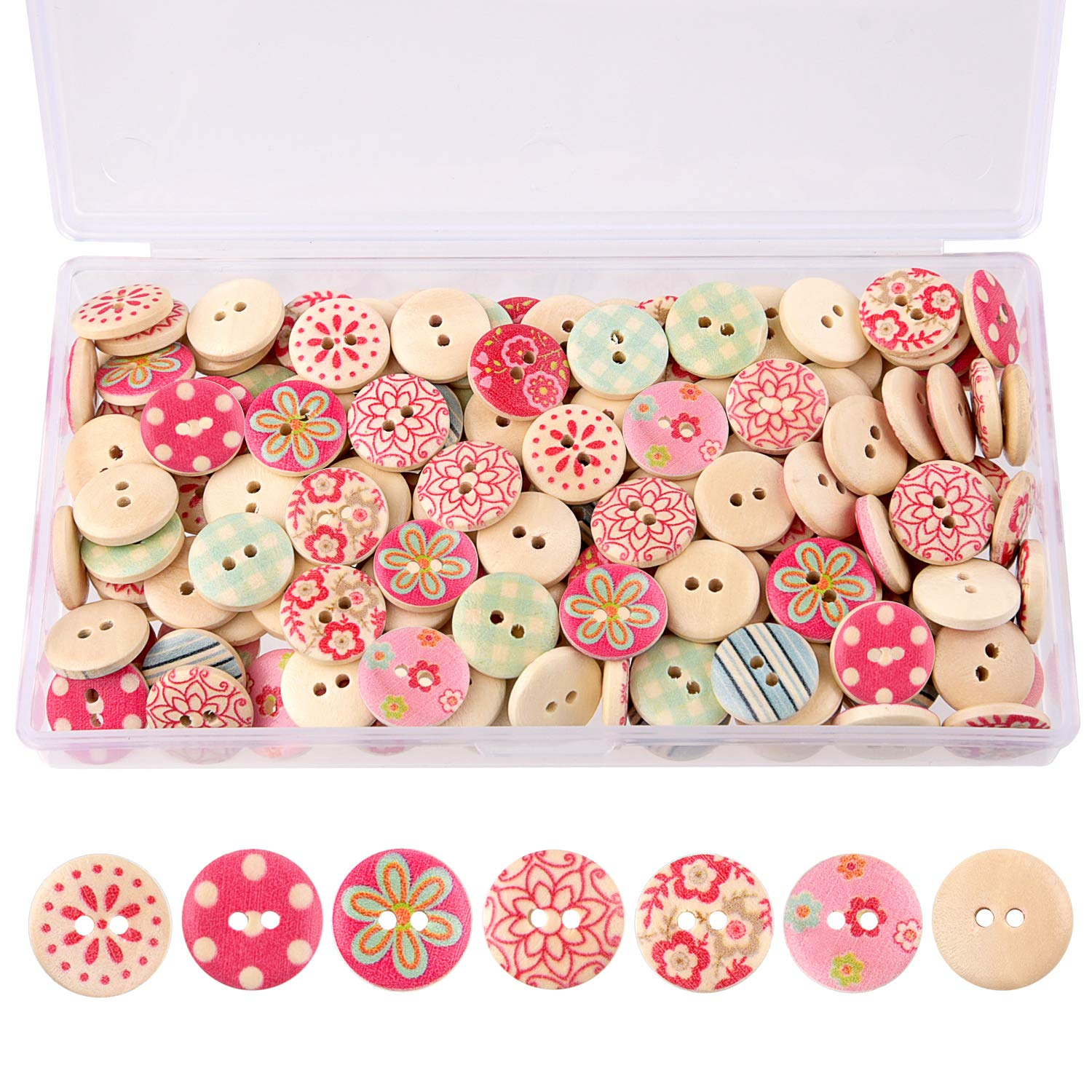 TUPARKA 170 Pcs Wooden Buttons Painted Colors Button for Sewing Craft Decorations White 15mm Round Shape