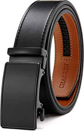 CHAOREN Men's Automatic Belt Leather Ratchet Belt Genuine Leather 35 mm - Perfect Fit - Black - X-Large