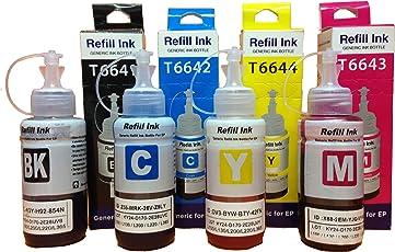 AC cartridge Epson Ink All Colors (T6641-B,T6642-C,T6643-M,T6644-Y) 70 Ml Each Compatible For L100/L110/L200/L210/L300/L350/L355/L550