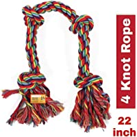 MS Petcare Dog Chew Rope Toy for Medium to Adult Dogs with 4 Chew Knots - Extra Durable (Color May Vary)