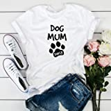 Dog mum with a dog name/Paw prints T-shirt/Christmas gift/Dog lover birthday gift/Gift for dog lover, Unique gift for…