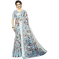 PerfectBlue Women's Digital Linen Blend Saree with Unstitched Blouse Piece