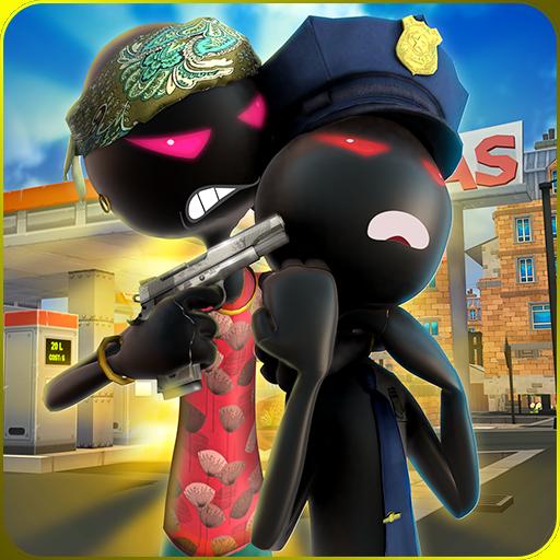 perheld-Kampf-Simulator 3D: Vegas-Stadt Stickman Kriminalpolizisten gegen Polizei-kämpfende Schießen-Abenteuer-Missions-Spiele geben für Kinder 2018 frei ()