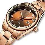 CIVO Relojes para Mujer Reloj de Pulsera con Fecha de Acero Inoxidable Resistente al Agua en Oro Rosa, Elegante Reloj de Diam