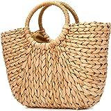 JOSEKO Sommer Strand Tasche, Damen Stroh Handtasche Sommer Korbtasche Basttasche Strand Schultertasche Einkaufstasche für Rei