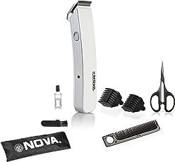 Nova NHT - 1047 Pro Skin Advance Rechargeable Cordless Beard Trimmer for Men (White)