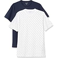 Amazon Essentials Uomo T-shirt girocollo in cotone a maniche corte slim, Pacco da 2