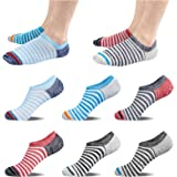 Mens No Show Socks Invisible Women Men's Trainer Breathable Cotton Running Liner Stripe Low Cut Socks Ankle with Non Slip Gri