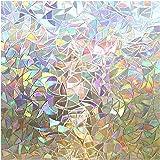rabbitgoo Pellicola per Finestre Vetri 3D Geometria Decorativa Autoadesive Anti-UV Controllo di Calore 60 x 200cm