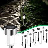 10 Lampes Solaires Exterieures Jardin, Borne Solaire Exterieur étanche IP65, Sans fil Lampe Led Exterieur, Lampe Solaire Exte