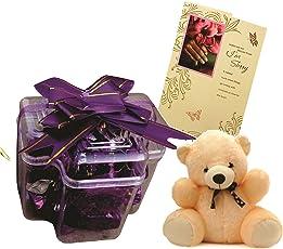 Skylofts 9 Piece Chocolate with a Cute Teddy and a Sorry Card
