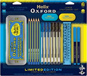 Helix Oxford Clash Stationery Set - Blue (Includes Maths Set, Pens, Pencils, Folding Ruler and Erasers)