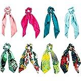 Elastici Capelli Donna, Comius 8 Pcs Scrunchies per Capelli, Cravatte Sciarpa con Motivo a Fiori per coda di Cavallo, 2 in 1