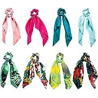 Elastici Capelli Donna, Comius 8 Pcs Scrunchies per Capelli, Cravatte Sciarpa con Motivo a Fiori per coda di Cavallo, 2…