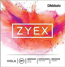 D'Addario Zyex Viola String Set, Medium Scale, Medium Tension