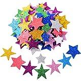 Pegatina de Espuma Brillante Pegatina de Estrella Autoadhesiva para Decoración de Fiesta de Halloween Navidad, Colores y Tama