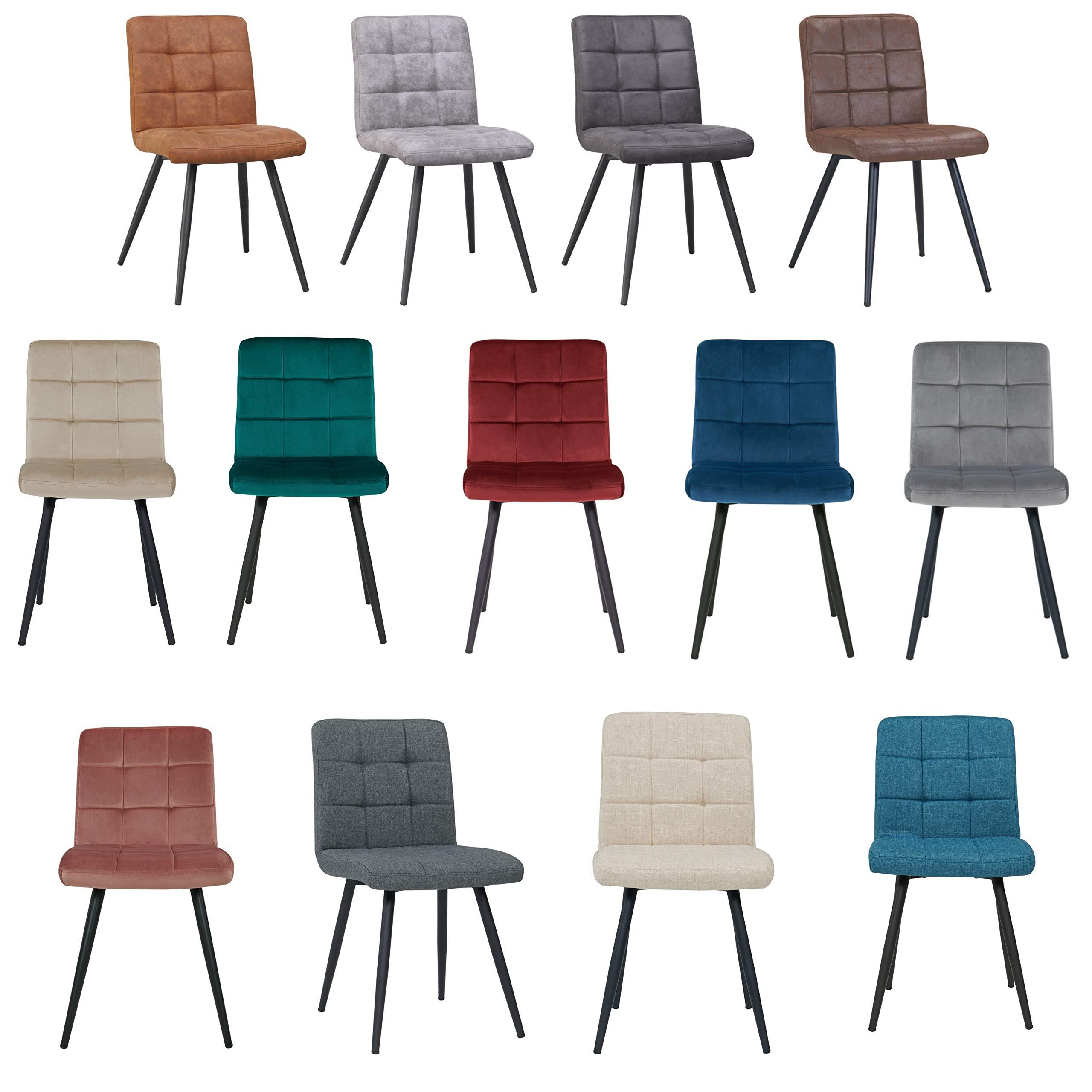 Duhome 2er Set Esszimmerstuhl aus Stoff Samt Creme Beige Farbauswahl Stuhl Retro Design Polsterstuhl mit Rückenlehne Metallbeine 8043B 1