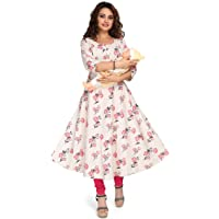 Hriday Fashion Women's Rayon Maternity/Feeding Kurti | Nursing Breastfeeding Anarkali Kurta/Dress with Zippers for PRE…