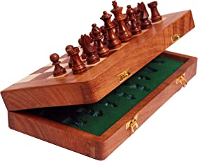 AUXTER Wooden Magnetic Hand Made Chess Board Set, 10x10inch (Multicolour)
